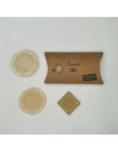Discos de lufa + pastilla de jabón alepo concentrado