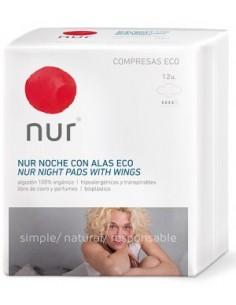 Compresas ecológicas Nur Noche Alas 12 unidades