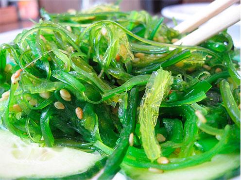 Comida Vegetariana, como espagueti del mar